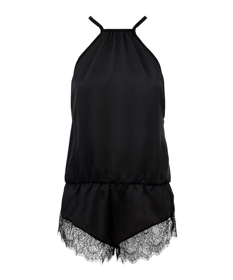 River black lace-trim teddy