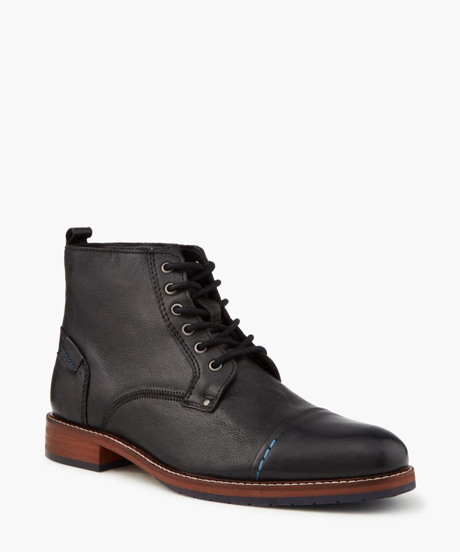 Chicago black lace-up leather boots