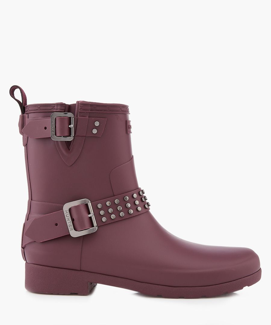 Oxblood studded buckle boots