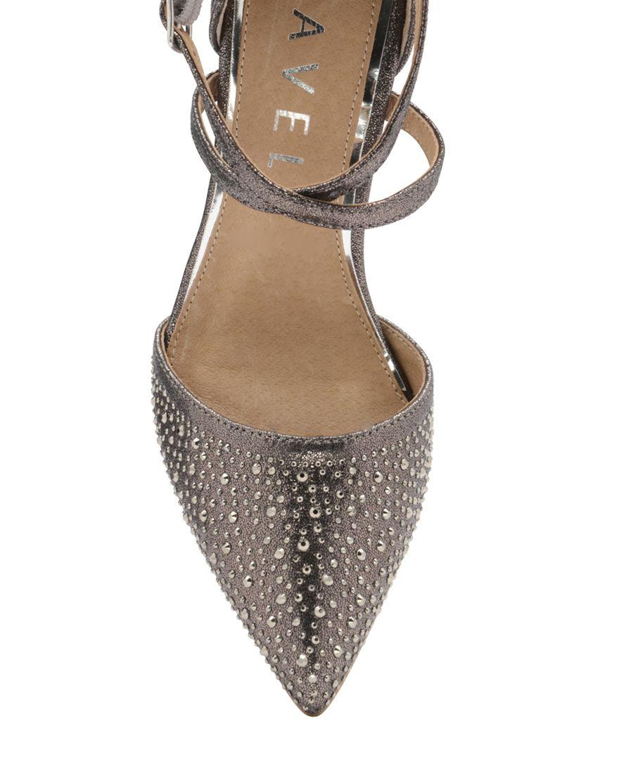 Pewter embellished strap heels