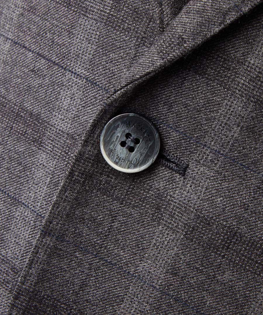 Grey wool check single breasted blazer