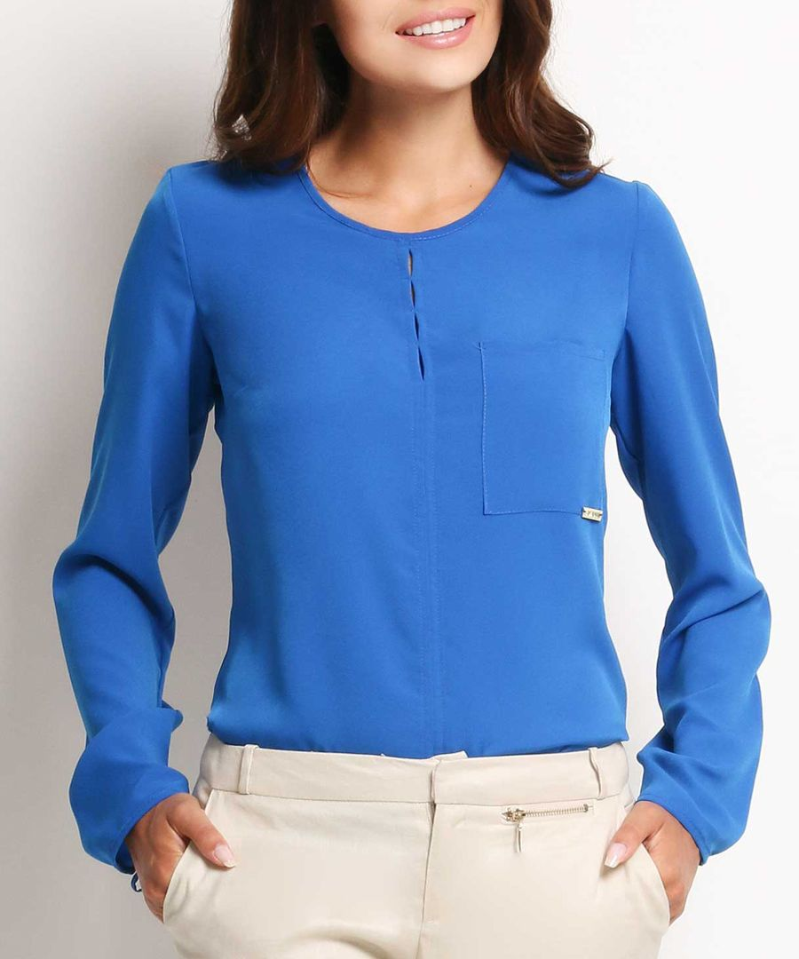 Blue round-neck loose blouse