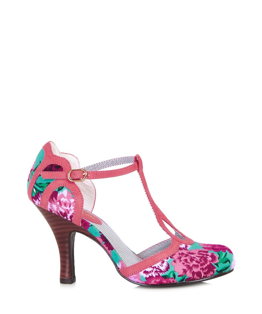 Polly coral & turquoise T-bar heels