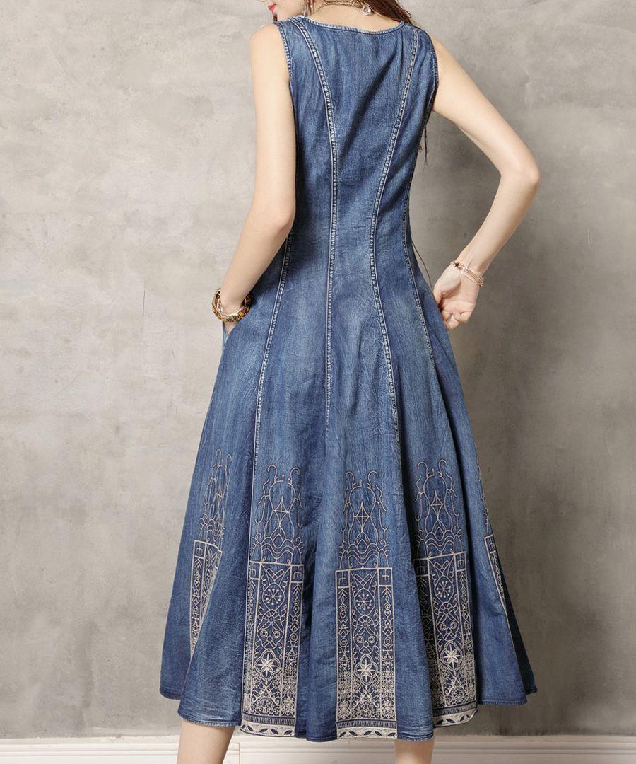 denim pure cotton sleeveless midi dress
