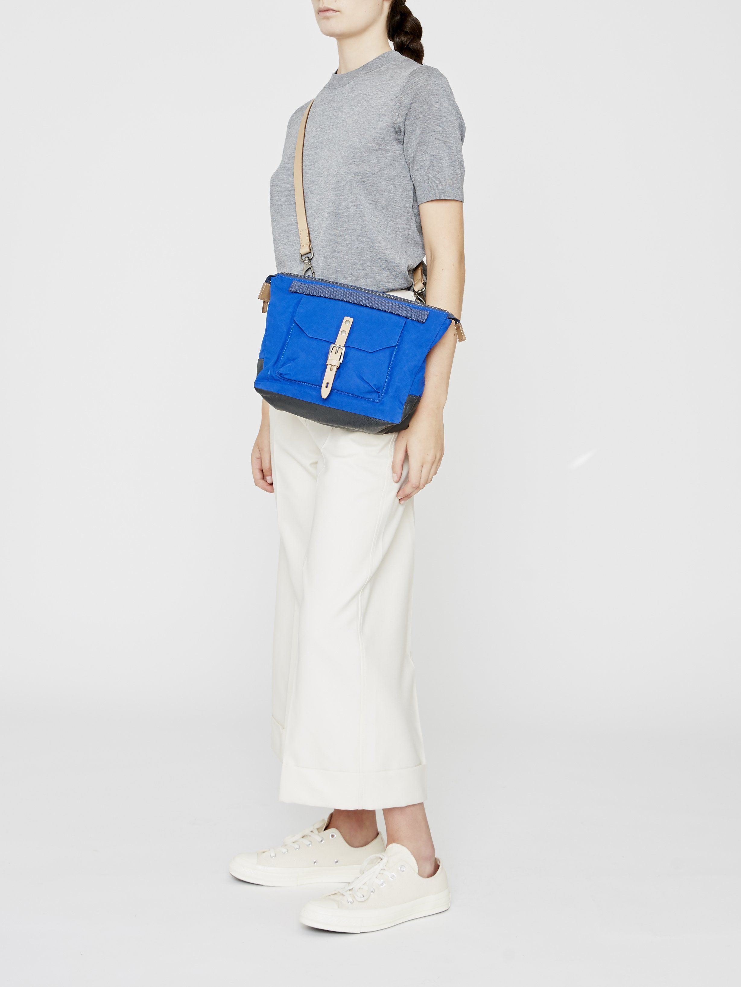 Francesca Waxed Cotton Crossbody Bag in cobalt