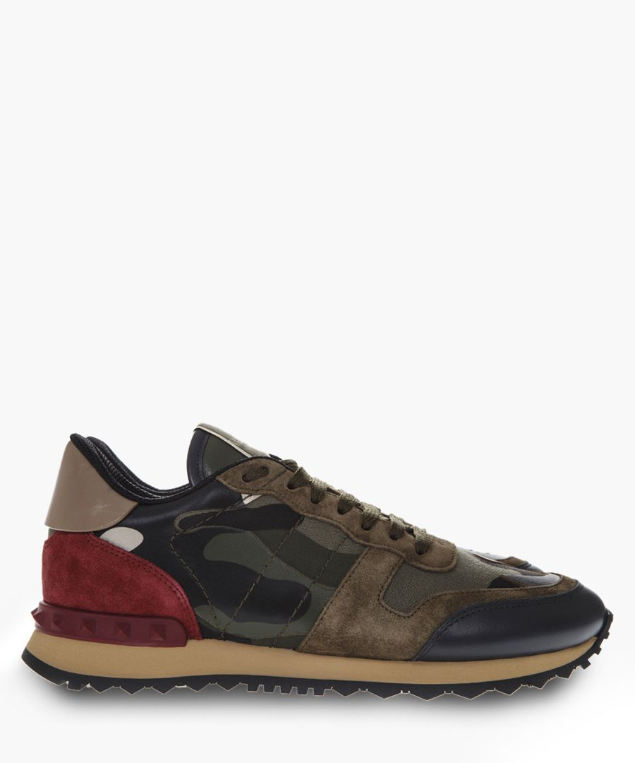 Rockrunner leather & canvas sneakers