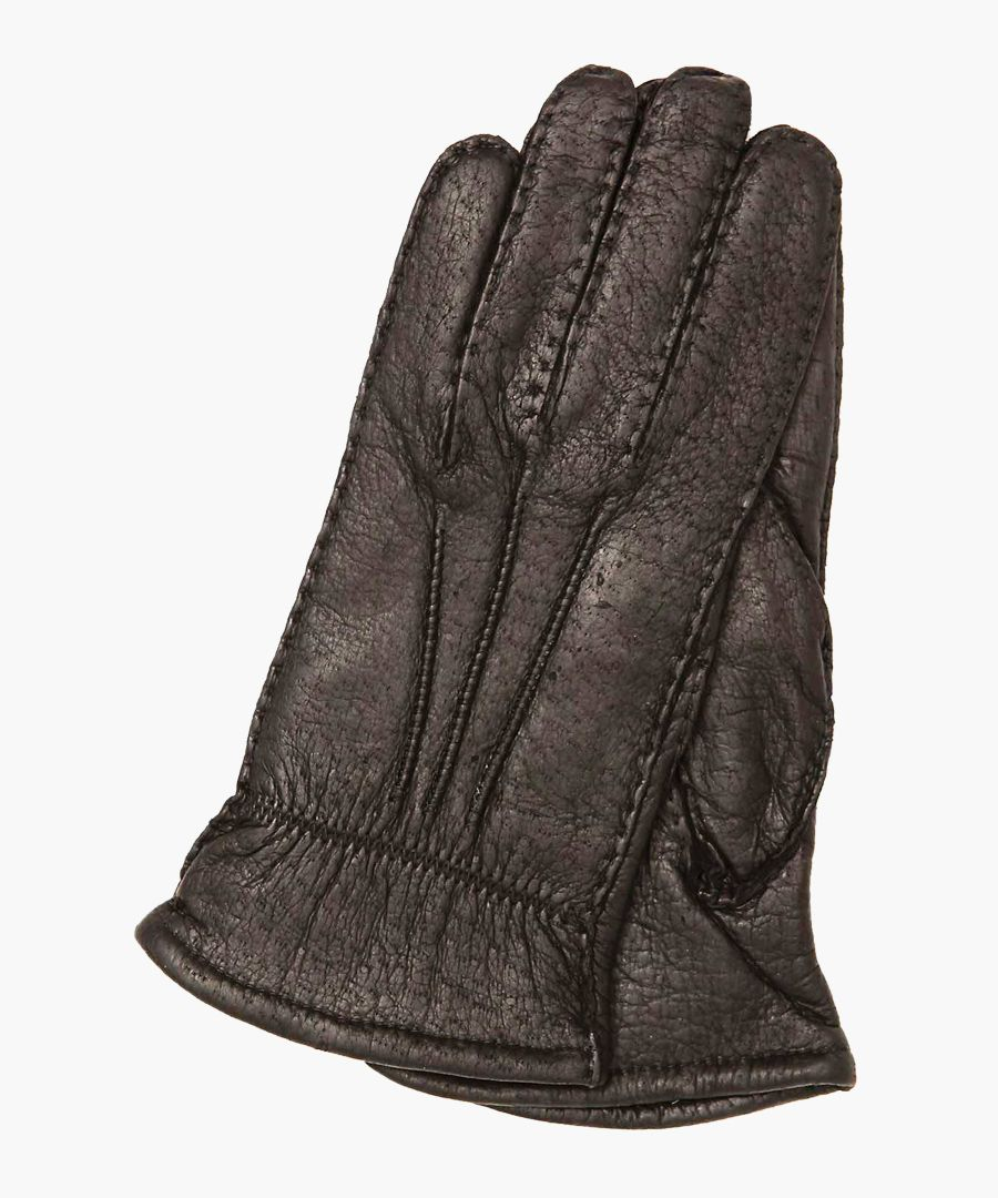 Brown nappa leather and wool-blend lining gloves