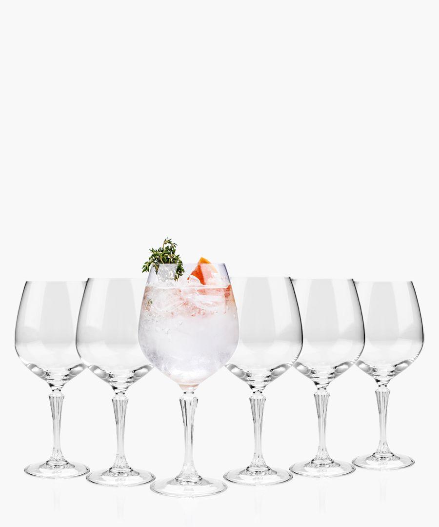 6pc Glamour burgundy balloon gin glasses