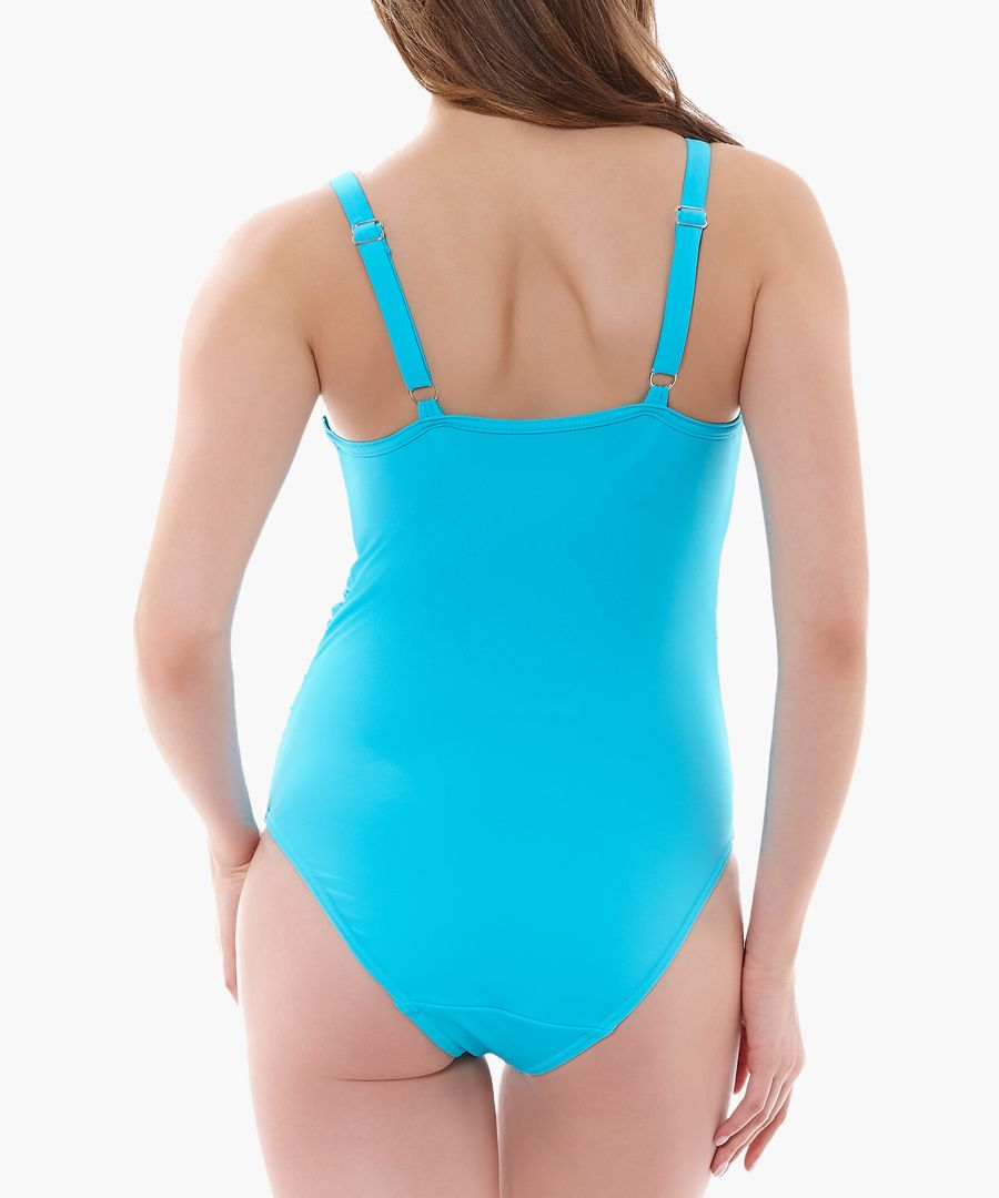 Deco aquamarine moulded cup swimsuit