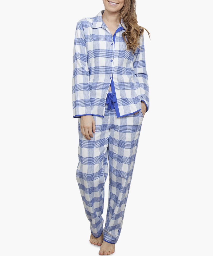 Elisa blue check pyjama top
