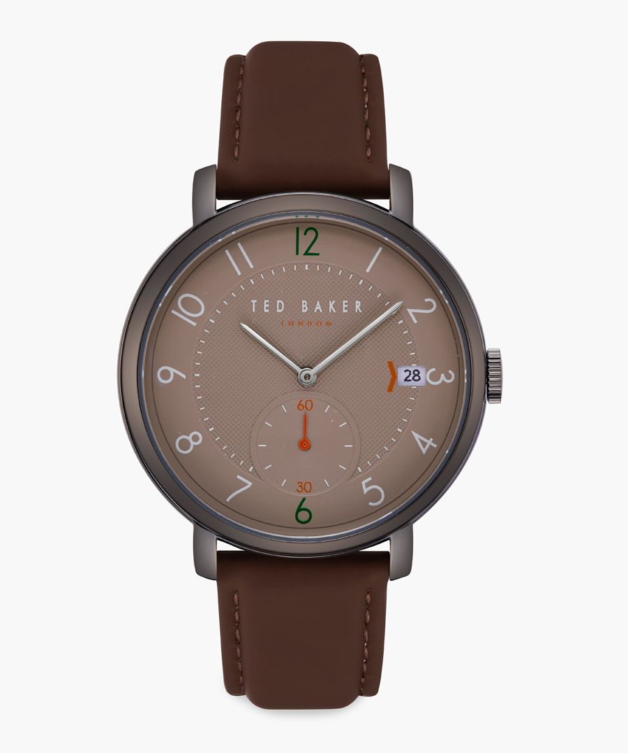 Oscar brown leather and stainless steel watch