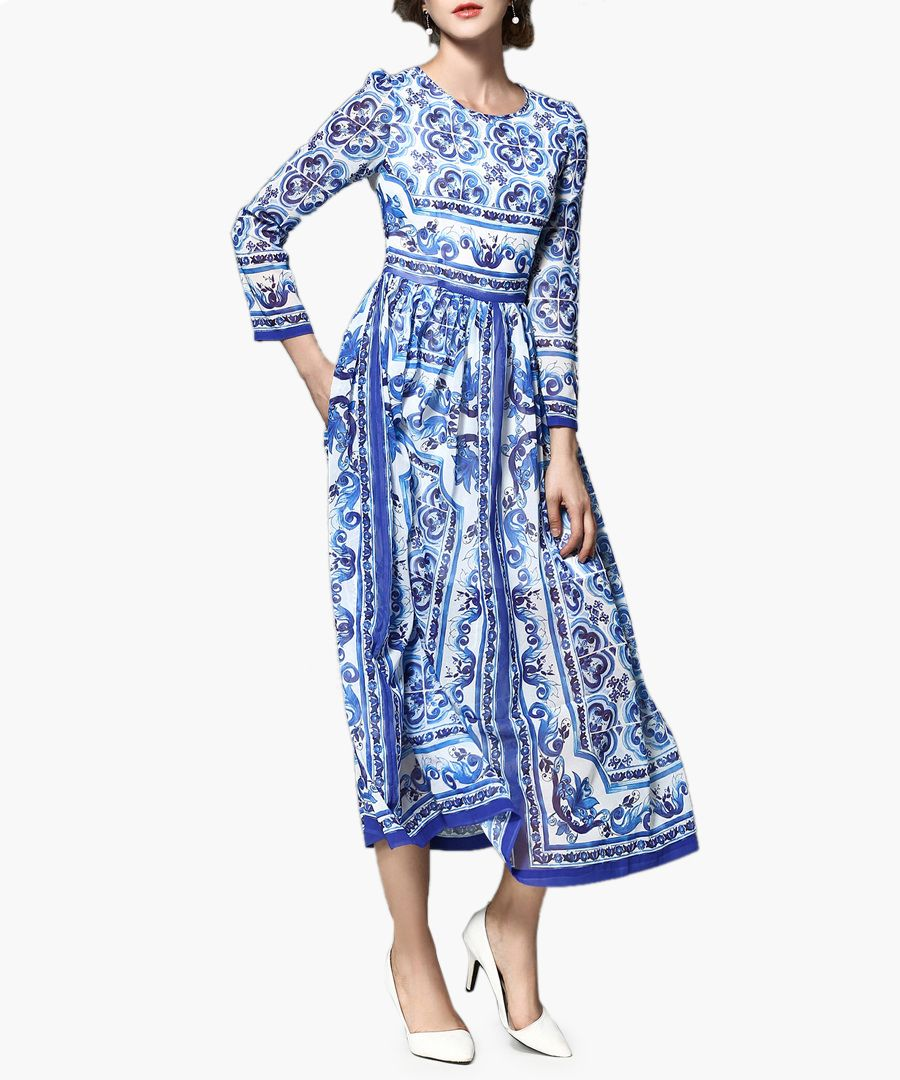 Blue & white printed midi dress