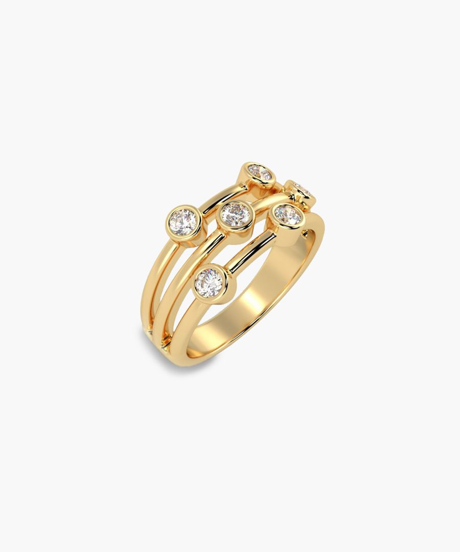 18k yellow gold and diamond bubble ring