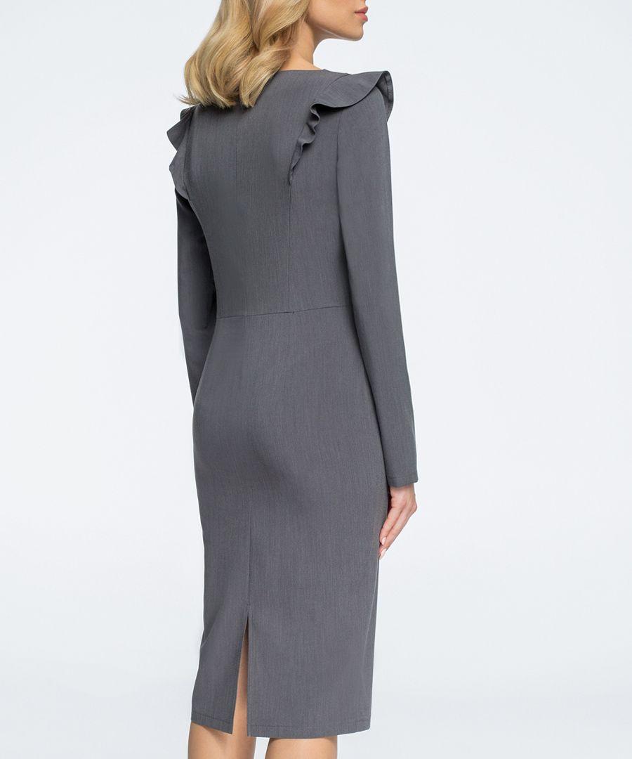 Charcoal ruffle long sleeve dress