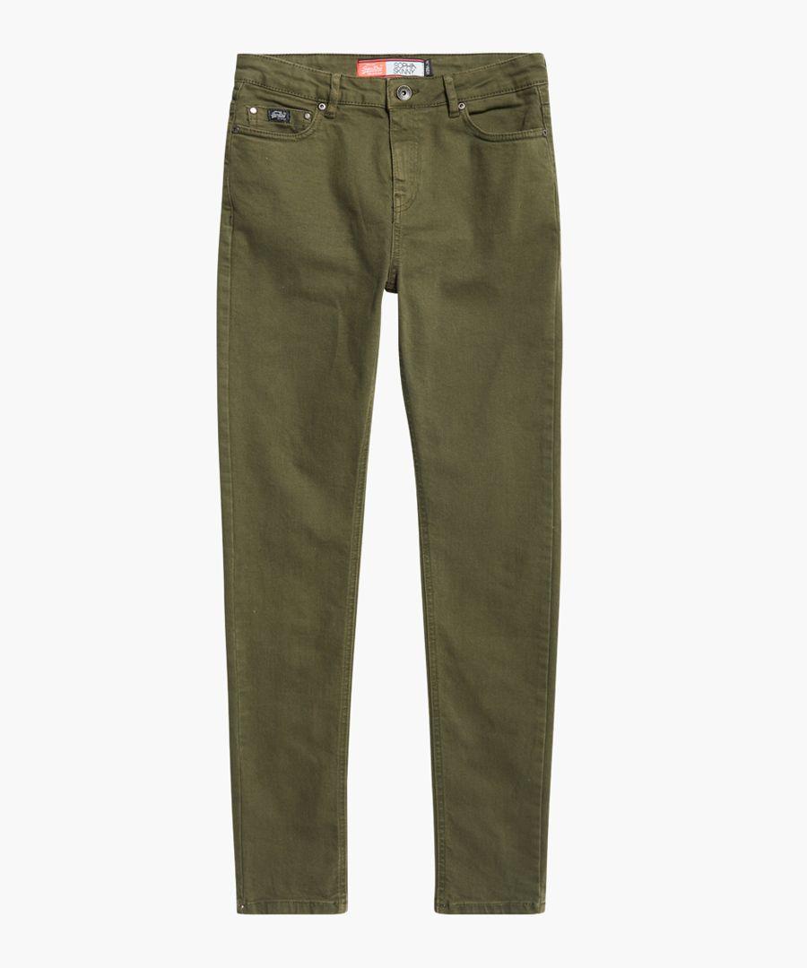 Sophia khaki cotton blend skinny jeans