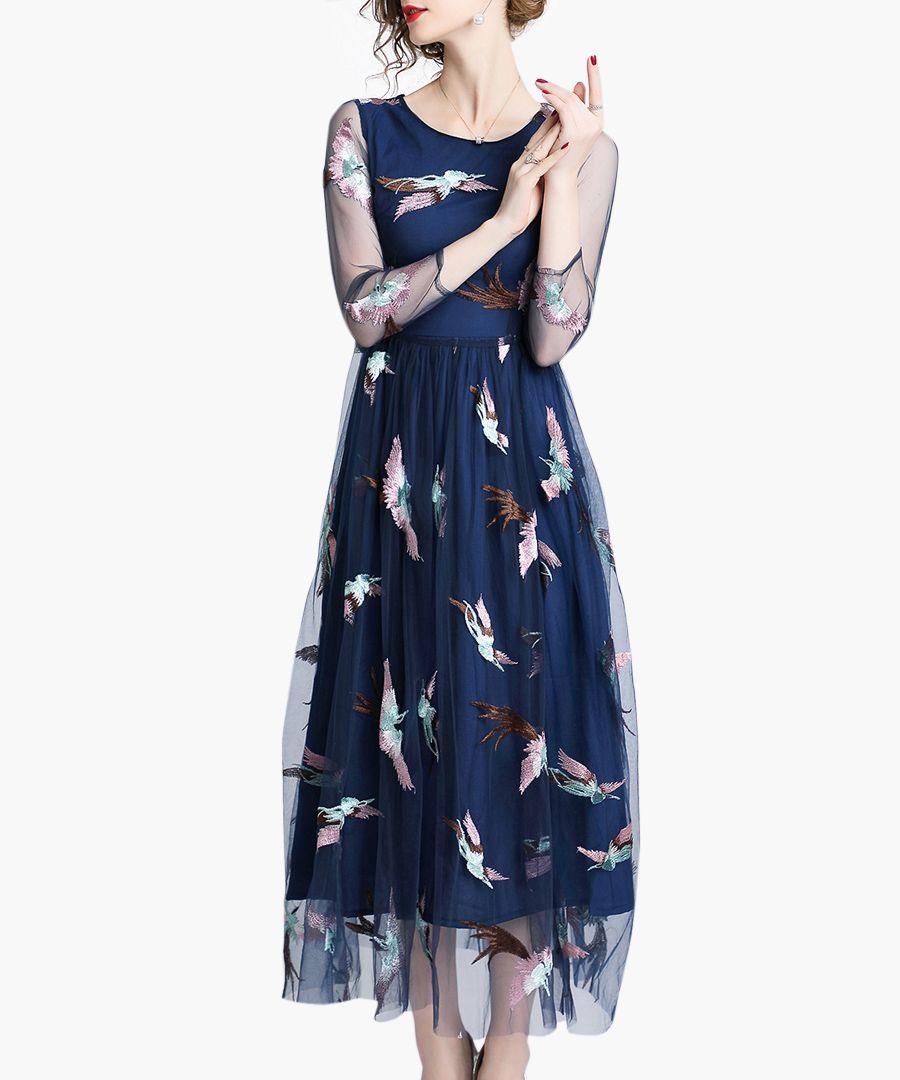 Navy sheer midi dress
