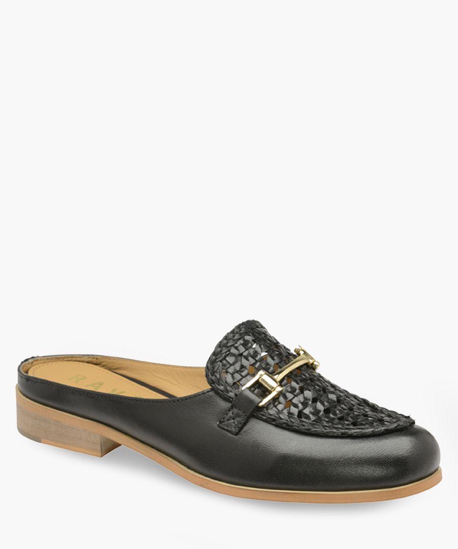 Black faux-leather horsebit mules