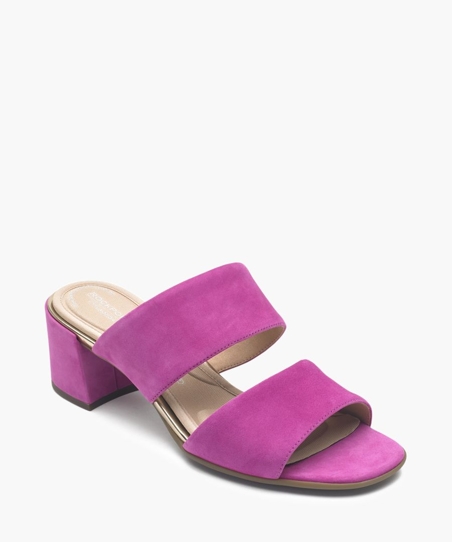 Alaina magenta double strap sandals