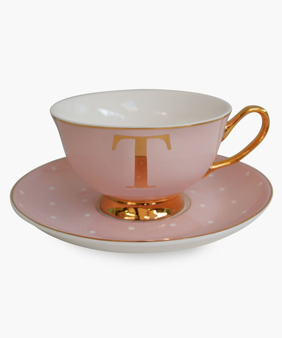 Alphabet spotted teacup and saucer