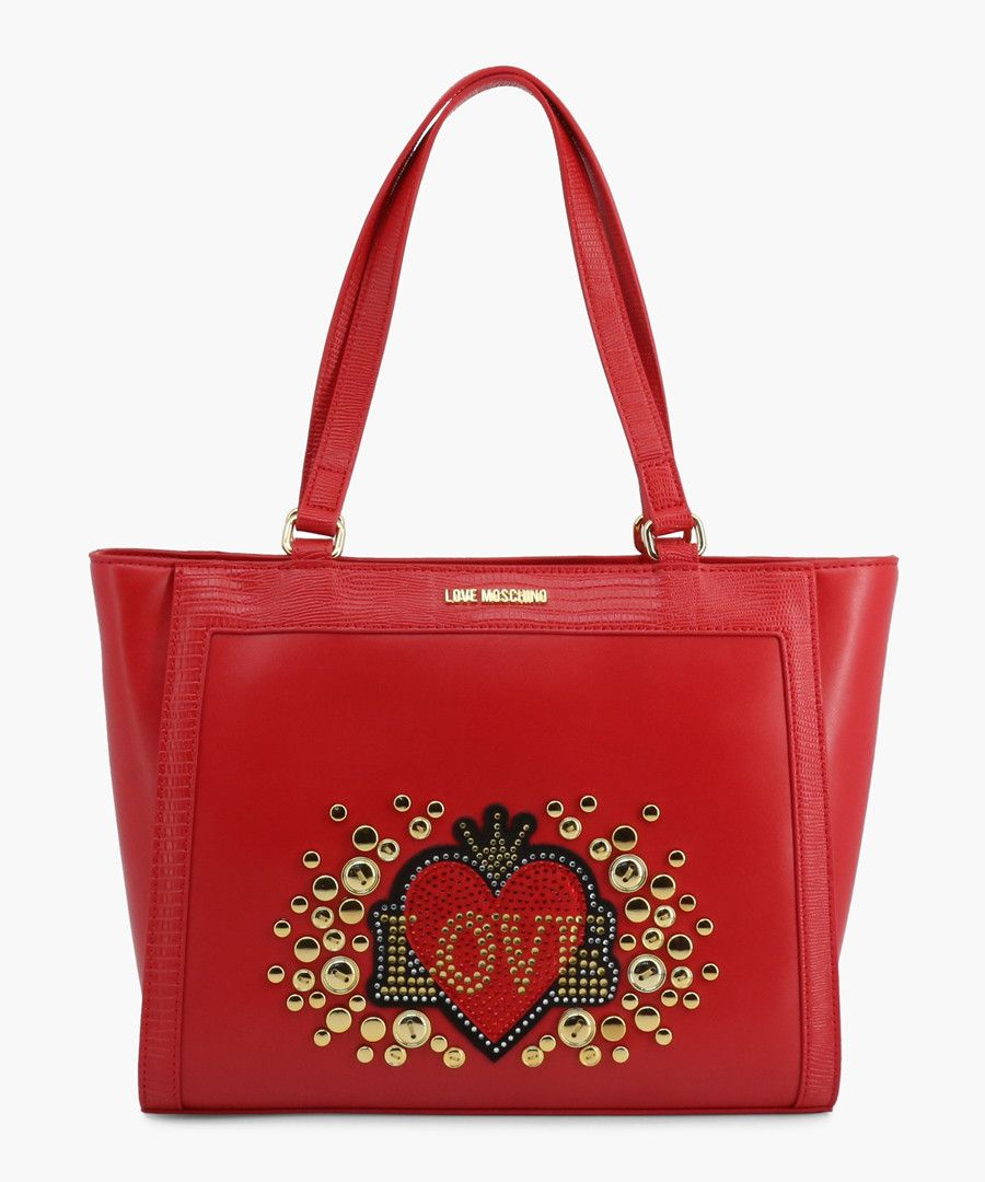 Red faux-leather grab bag