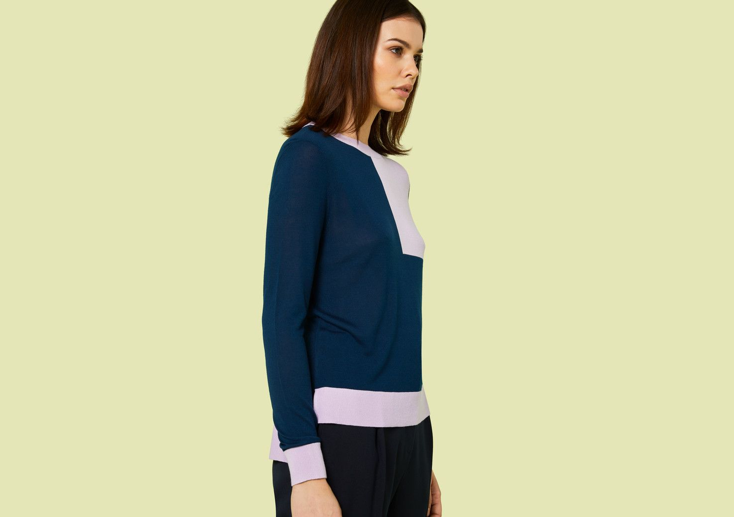 Roux Navy and Lilac Knitted Jumper - Multi