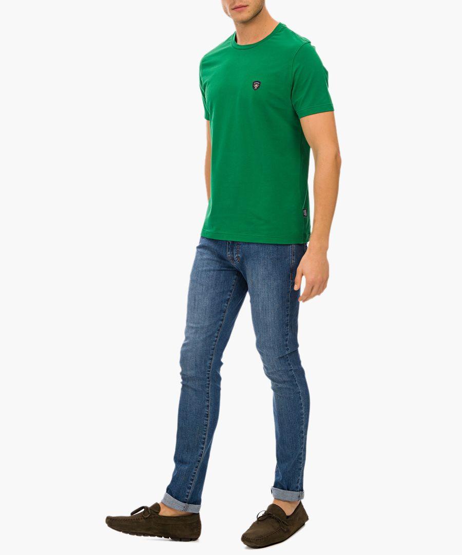 Green cotton blend T-shirt