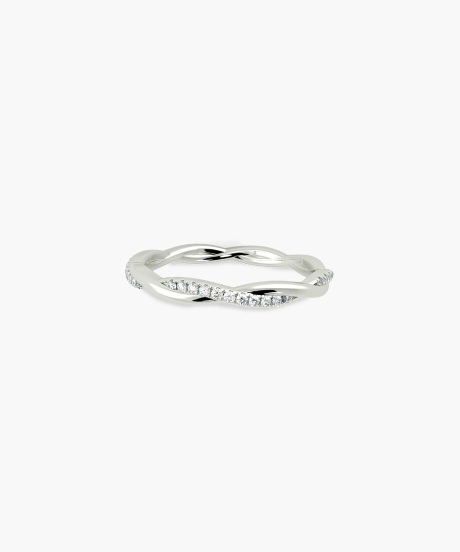 9k white gold and 0.30ct diamond twisted eternity ring