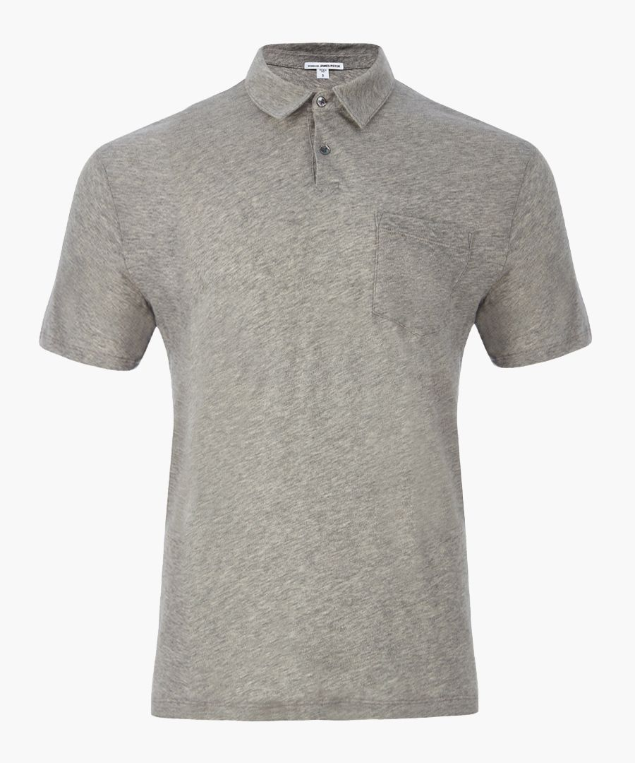 Heather grey pure cotton  Polo Shirt