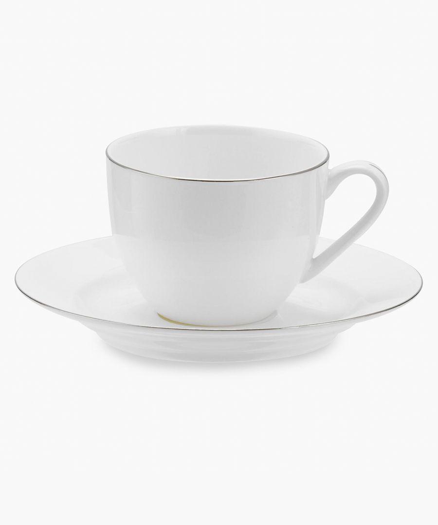 4pc Serendipity platinum band bone china teacup and saucer set