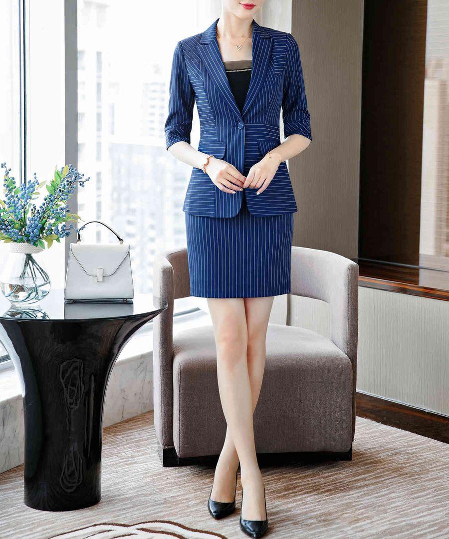 Blue pinstripe skirt suit set