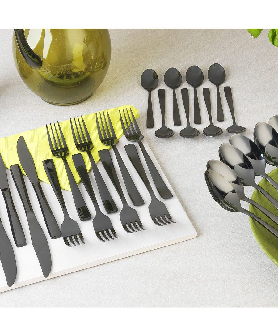 16pc regal black cutlery set