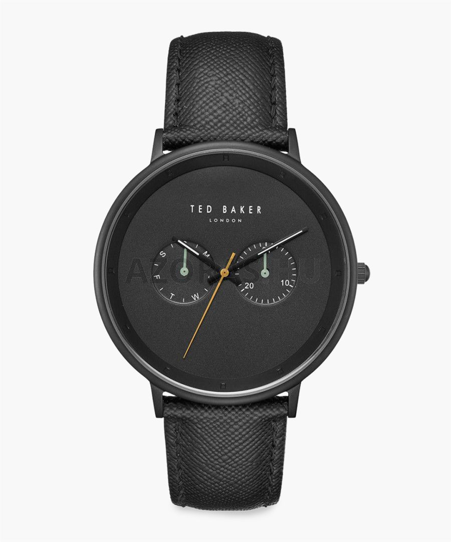 Brad black leather and stainless steel watch