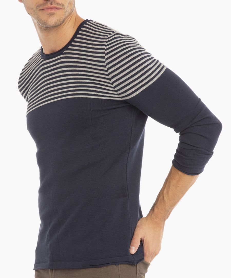 Navy and grey jumper
