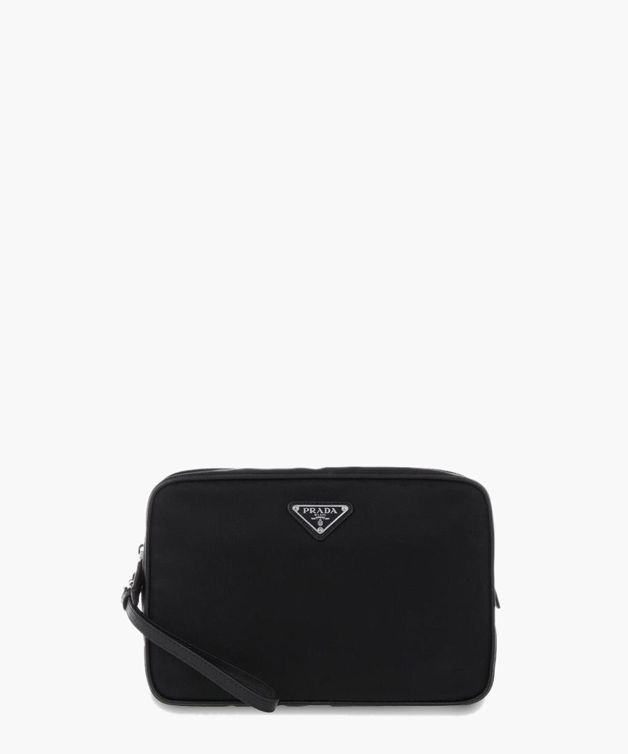 Black leather zip-up bag