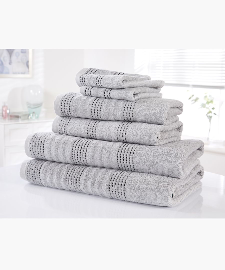 6pc Silver cotton towel bale set
