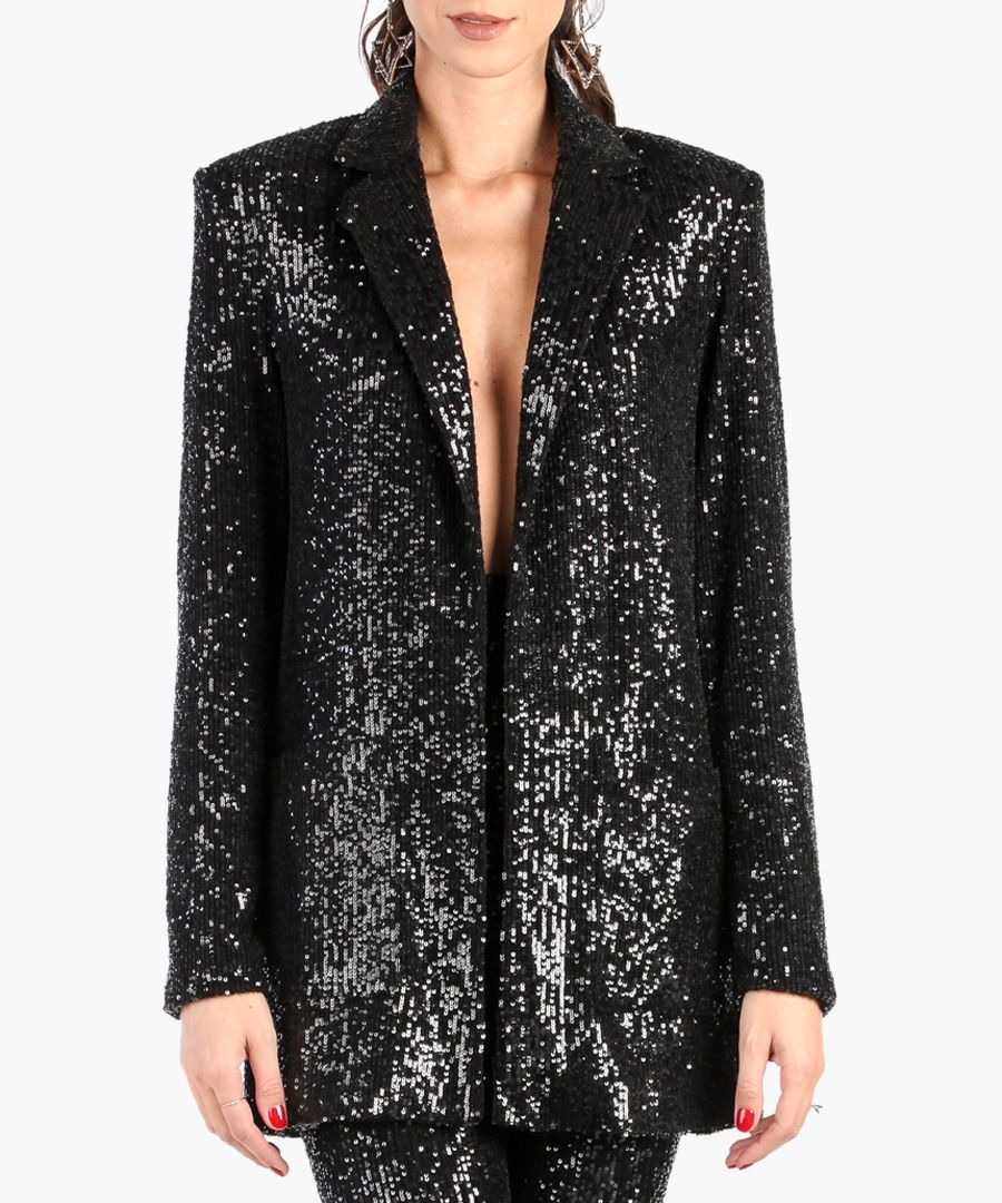 Black sequin loose blazer