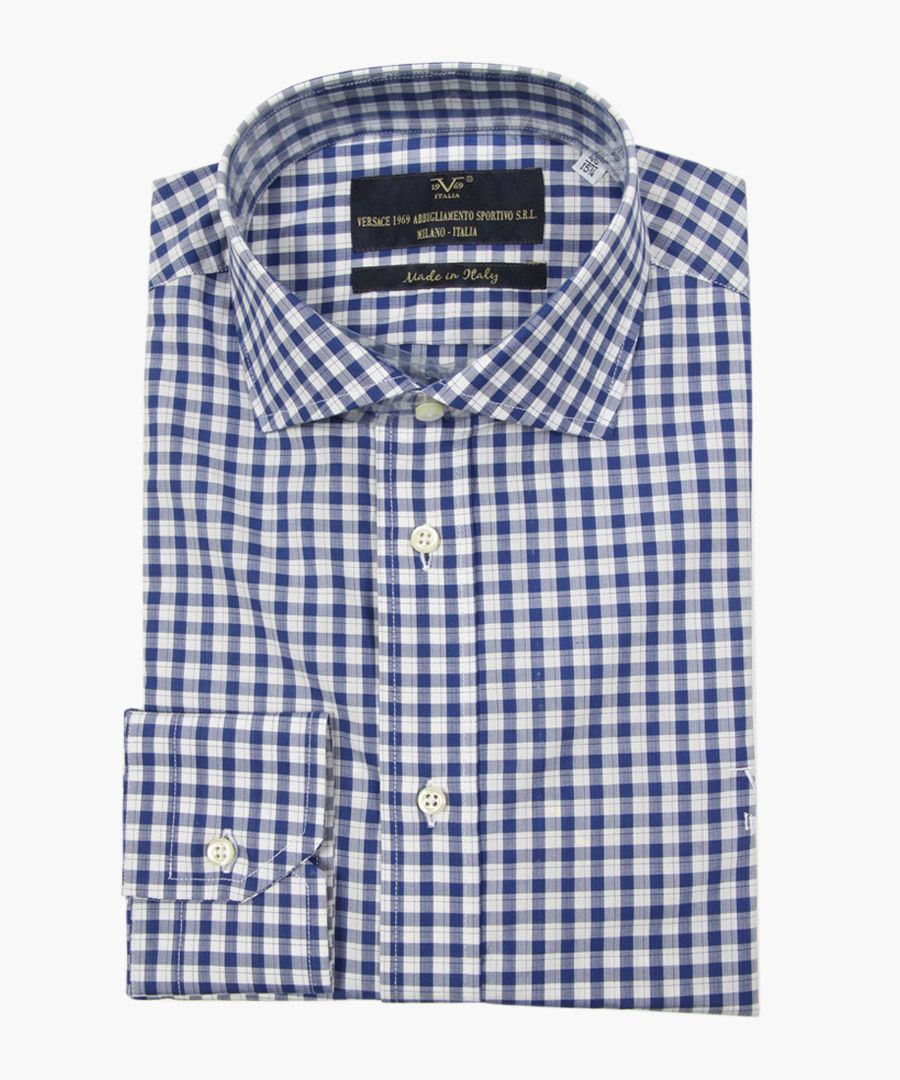 Blue pure cotton classic collar shirt