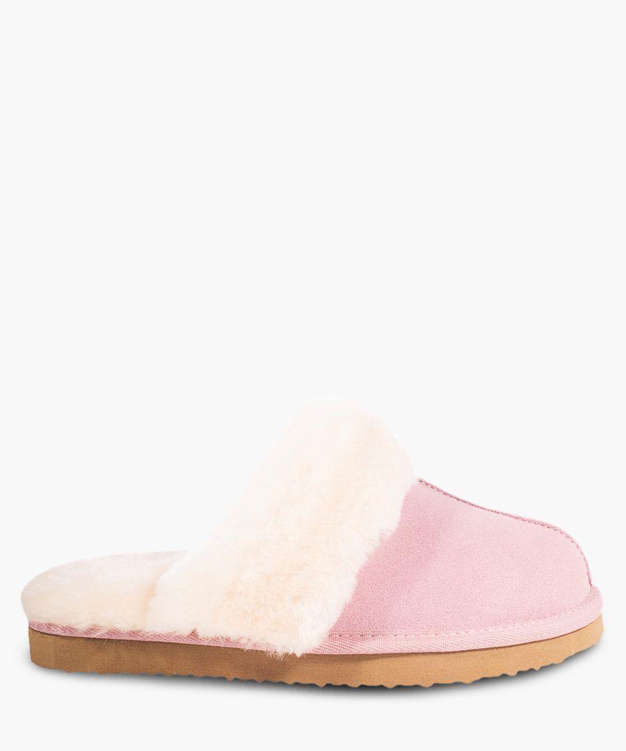 Pink suede sheepskin slippers