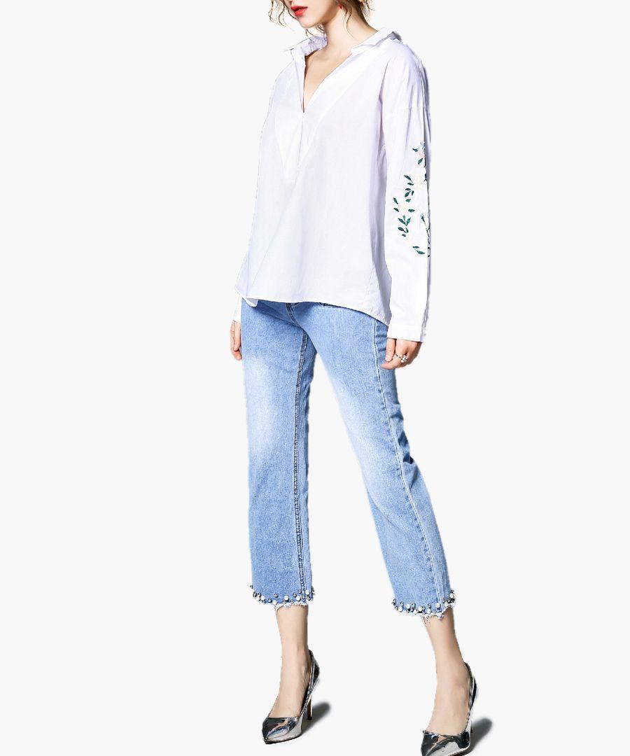 White print long sleeve shirt