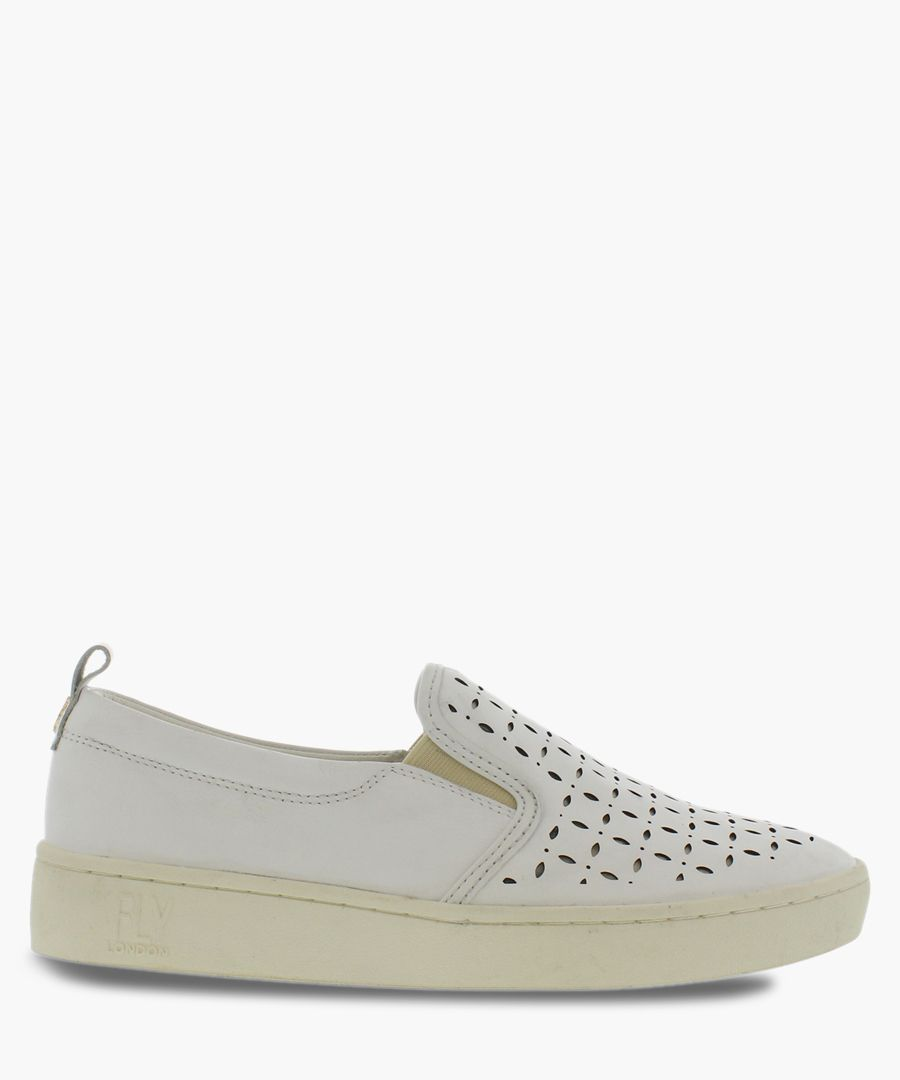 Off white leather casual slip-ons