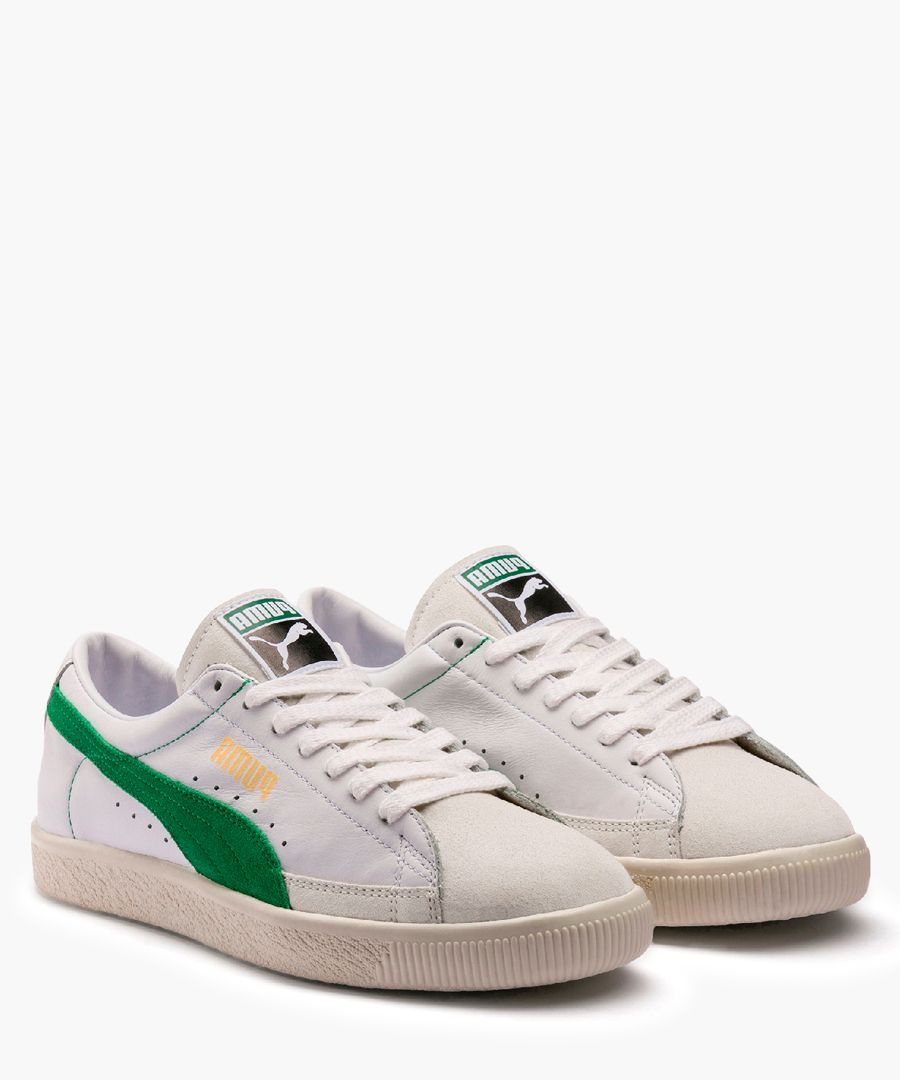 White and green low-top trainers