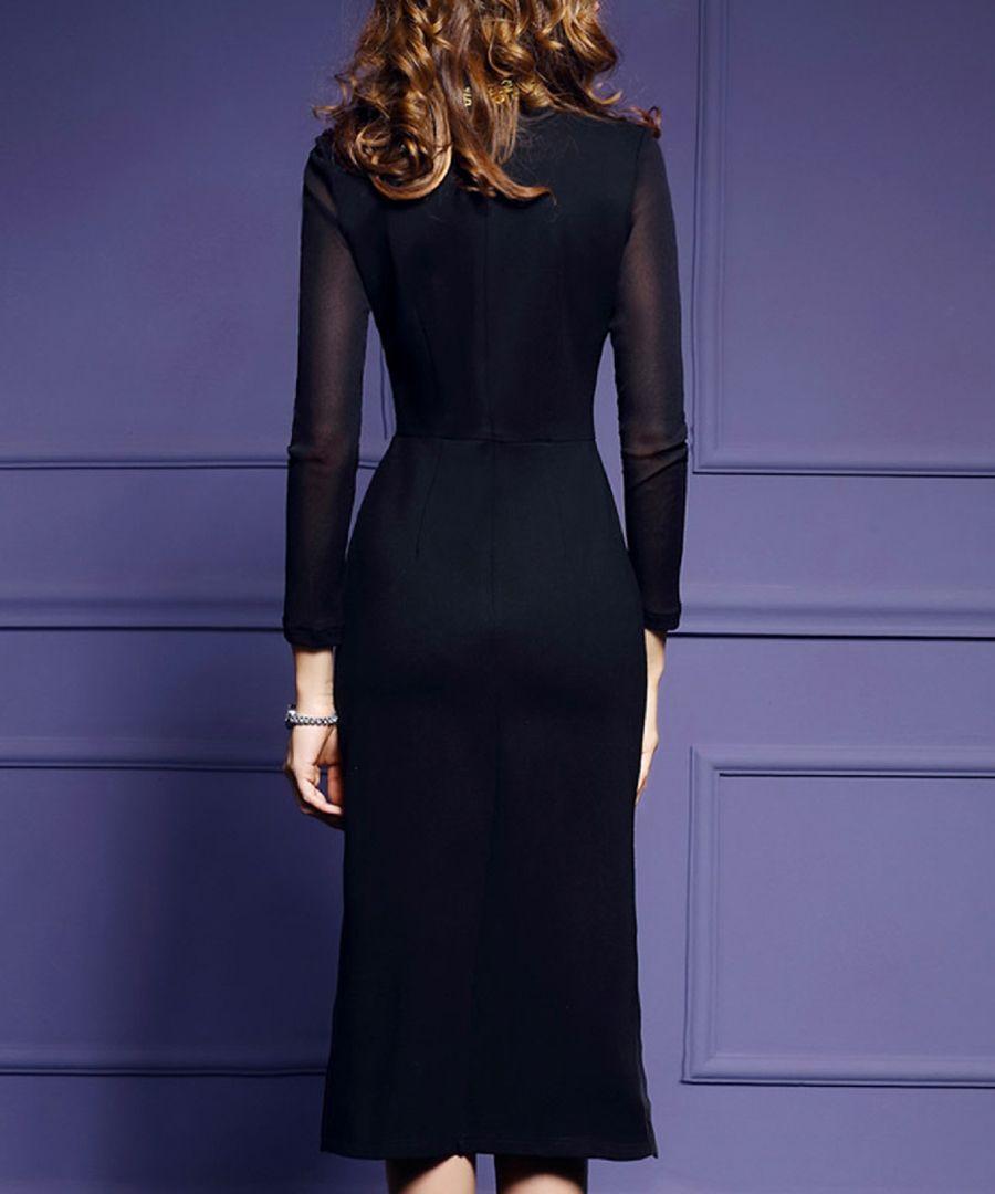 Black detailed midi dress