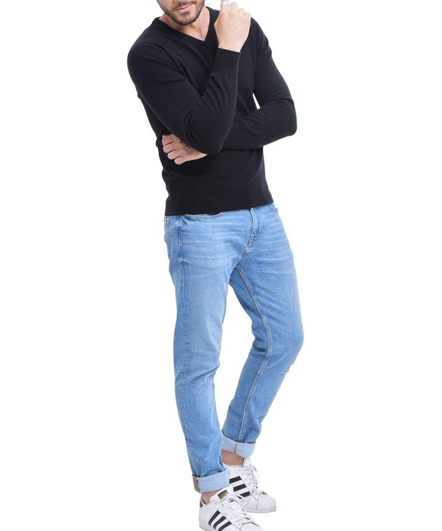 Black cashmere blend V-neck jumper