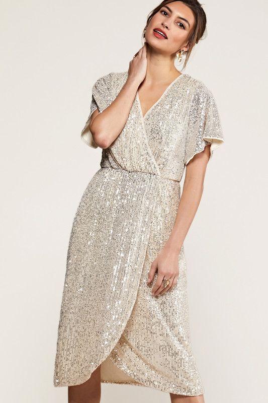 Silver Sequin Wrap Dress
