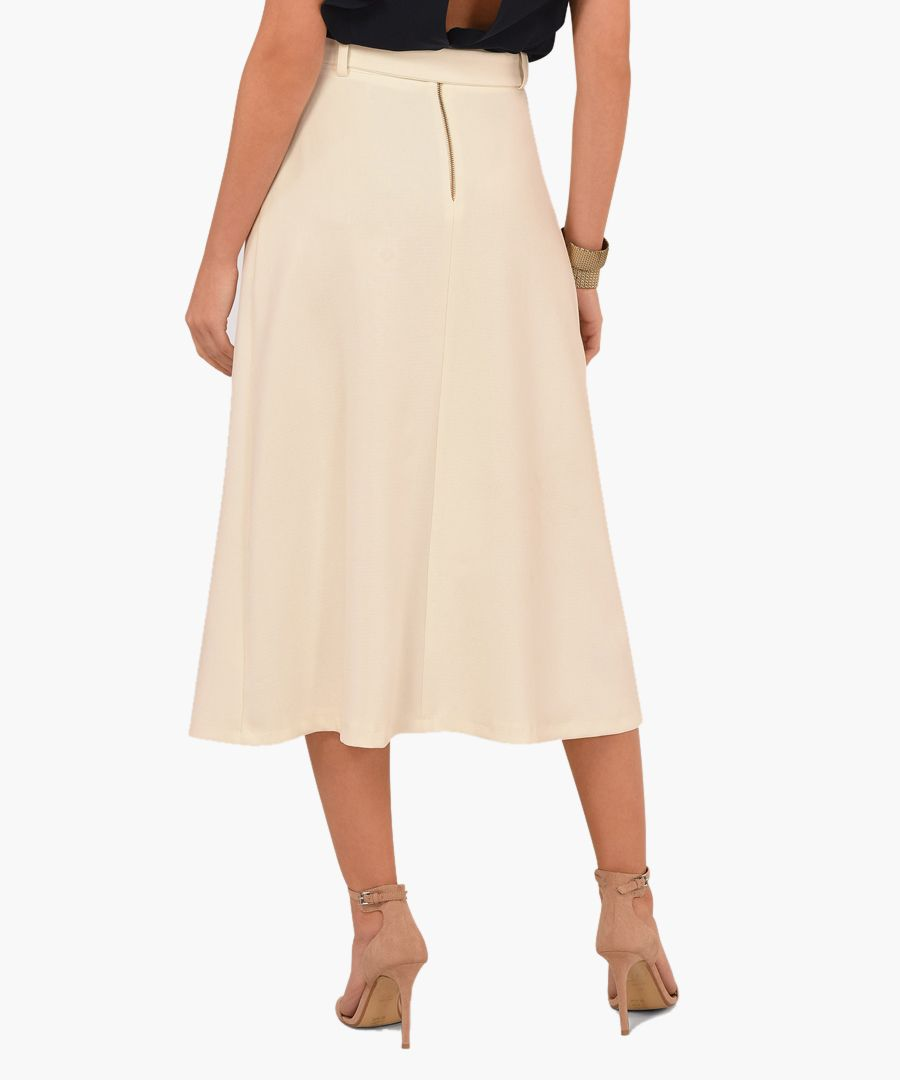 Ivory A-line belted midi skirt
