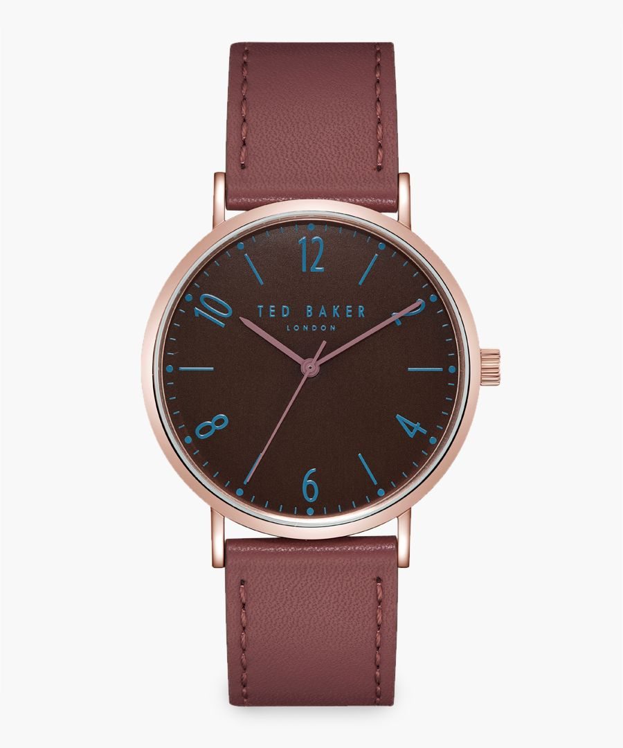 Hank brown leather and stainless steel watch