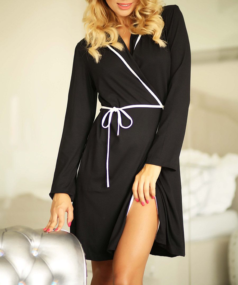 Black dressing gown