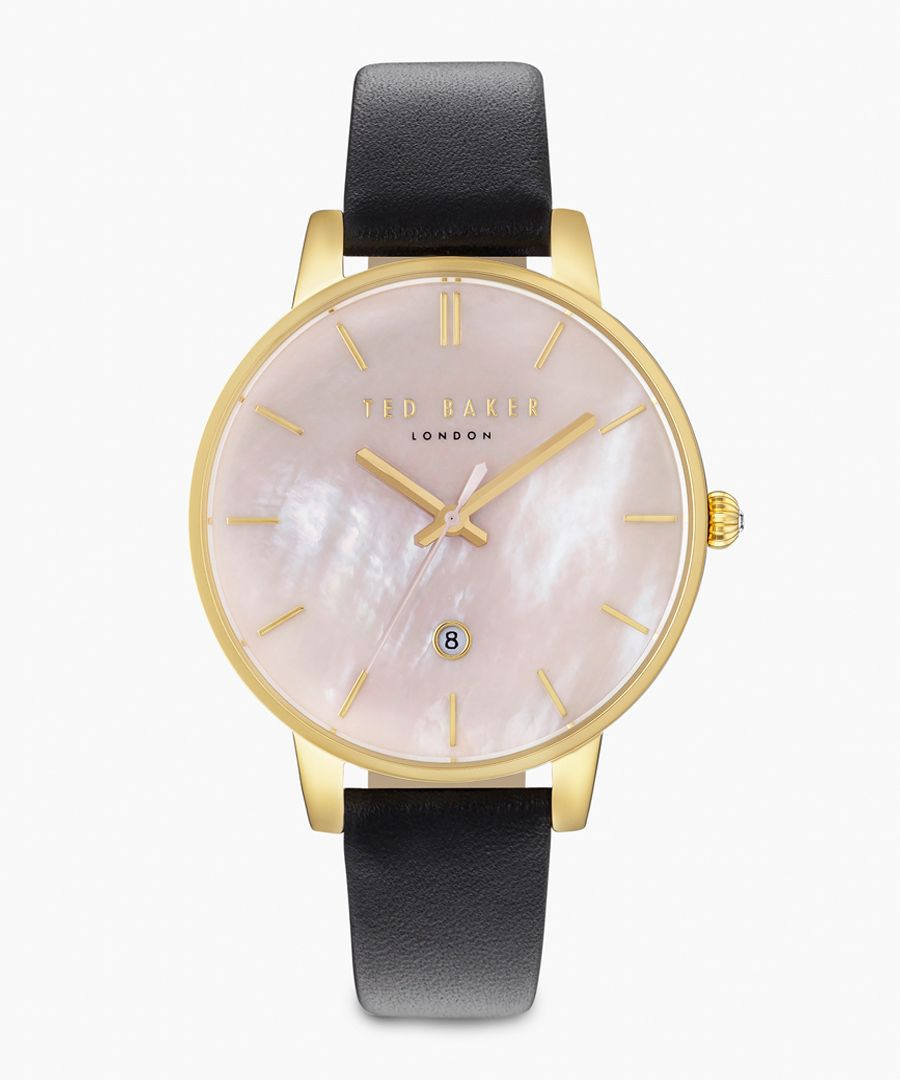 Kate PVD gold-plated and leather watch