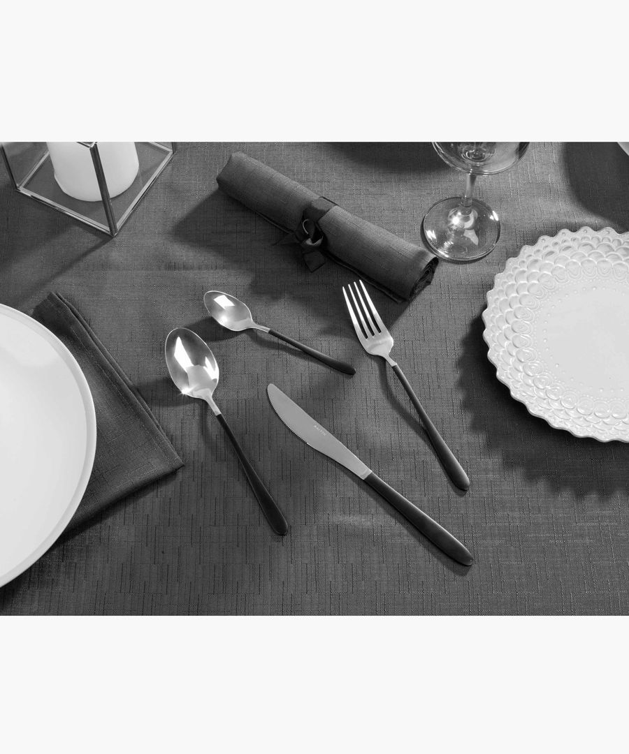 16pc black and silver-tone cutlery set