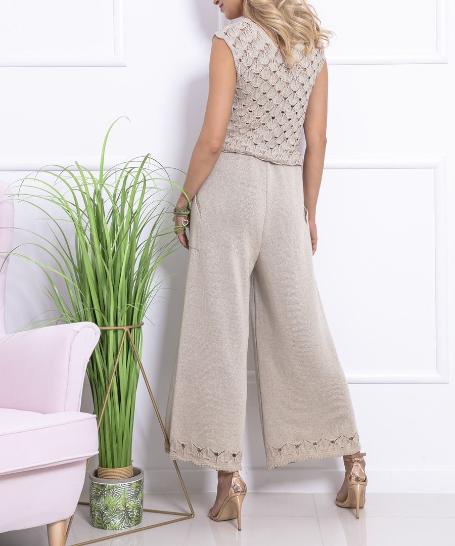 Beige knitted cotton blend jumpsuit